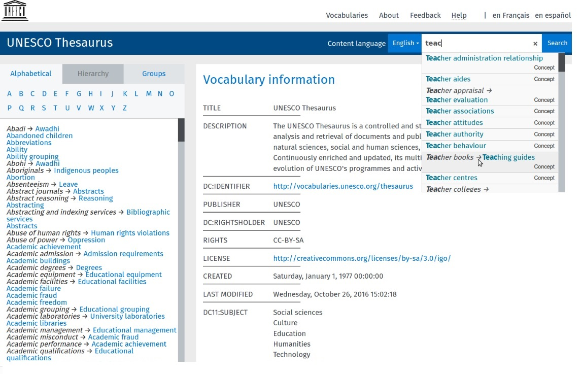 UNESCO Thesaurus published with Semantic Web standards and