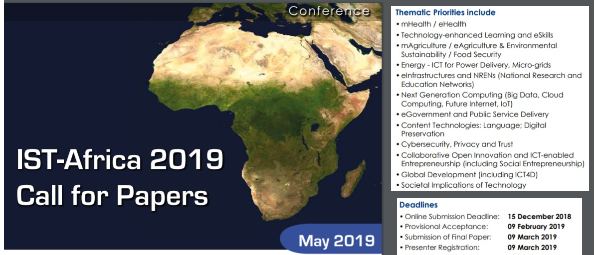 IST - AFRICA 2019 Call for Papers Deadline 15 December 2018