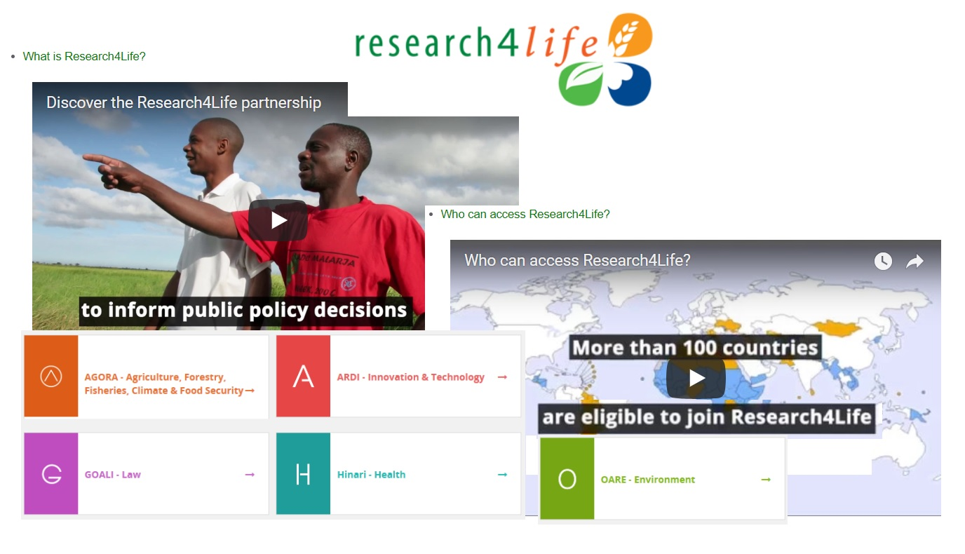 Research4Life TRAINING Materials : Be an advocate for the