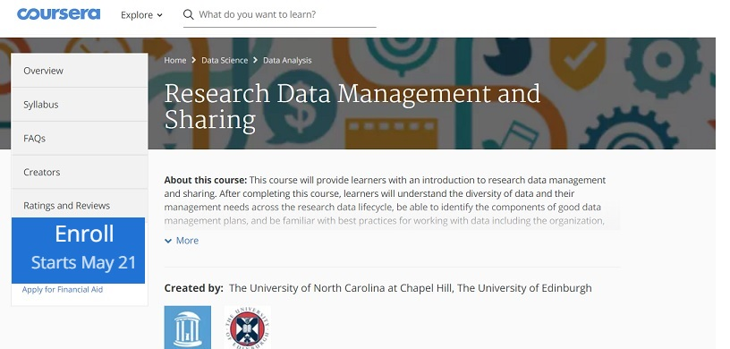 21 May 2018 : Free Coursera e-course: RESEARCH DATA MANAGEMENT