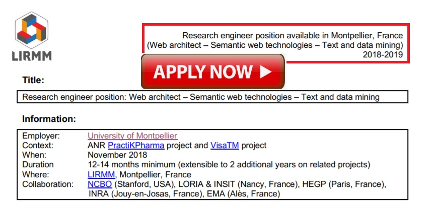 Application Is Open Research Engineer Position In Montpellier