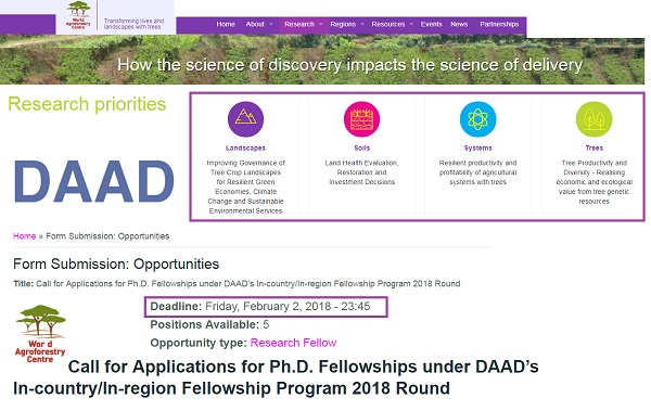 Call for Applications for Ph D  Fellowships under DAAD's : for