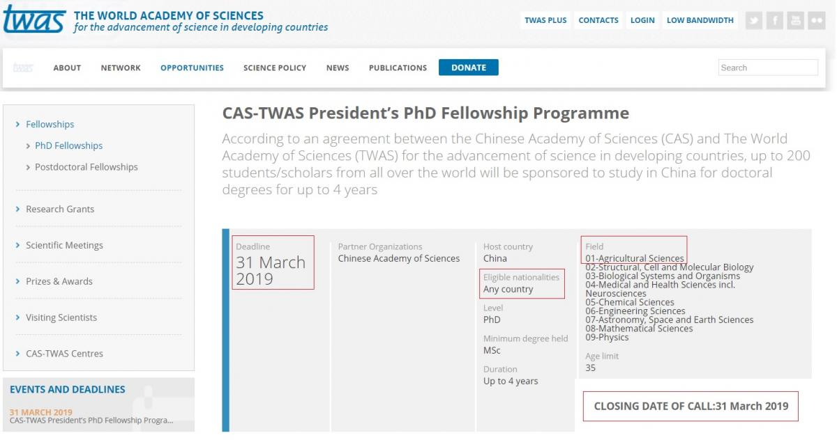 Apply Now for CAS-TWAS President's PhD Fellowship Programme in