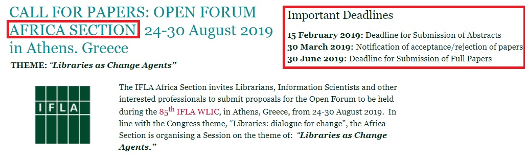 Call for Papers: IFLA AFRICA Section: LIBRARIES AS CHANGE AGENTS
